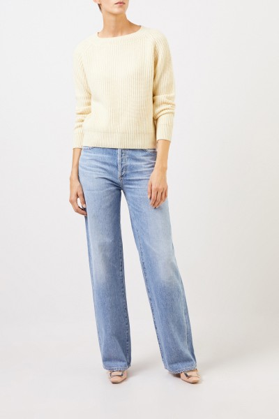 Uzwei Rib knit cashmere pullover Green