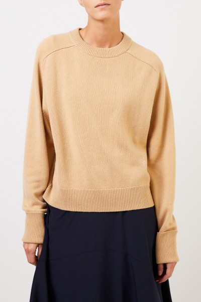 Chloé Cashmere sweater with logo embroidery Barley Brown
