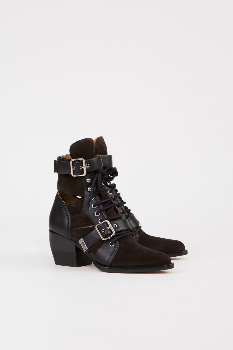 Chloé Veloursleder-Ankle-Boots 'Rylee' Schwarz/Braun