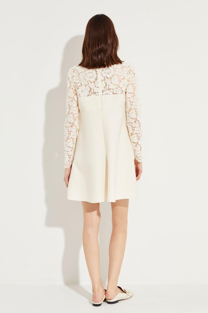 Woll-Seiden-Kleid mit Spitzendetails Créme