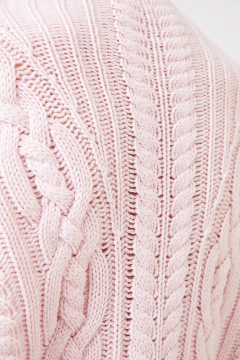 Iris von Arnim Cashmere-Pullover mit Zopfstrickmuster 'Fae' Rosé