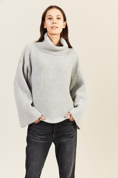 Oversize Cashmere-Rollkragenpullover Grau