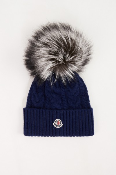 Moncler Wool cashmere cap with cable pattern Navy