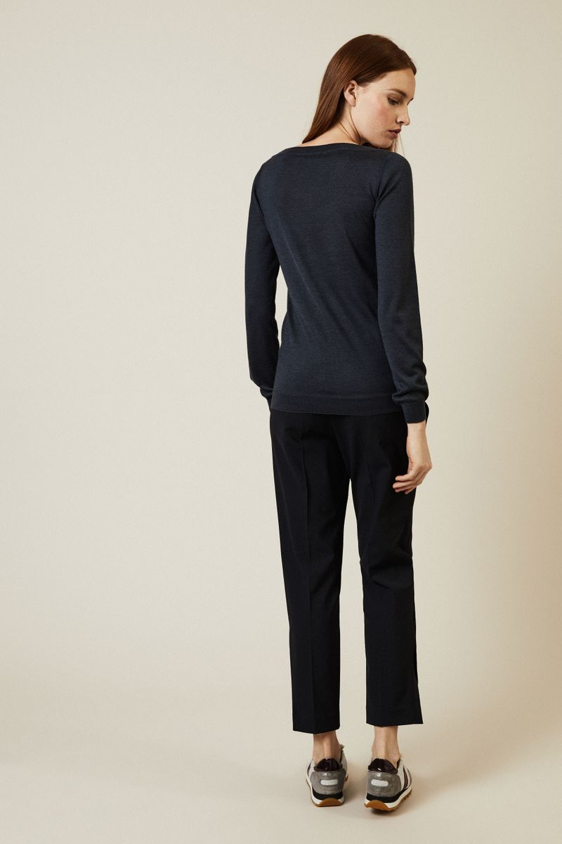 Cashmere-Seiden-Pullover Denimblau
