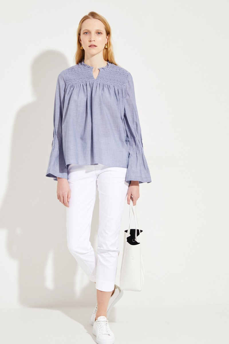 Cotton blouse with bell sleeves Blue