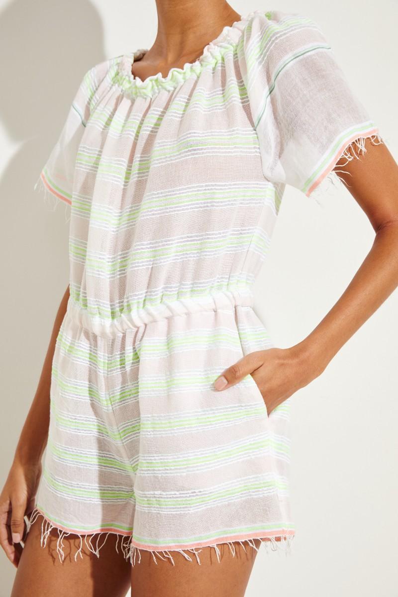 Baumwoll-Jumpsuit ' Selata' mit Streifen Crème/Multi