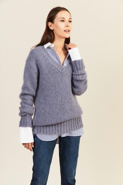 Mohair-Woll-Pullover mit V-Neck Taubenblau