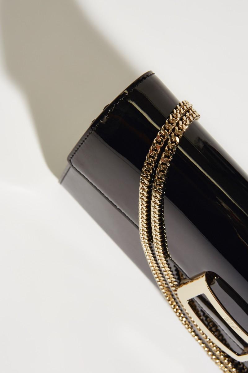 Lackleder-Clutch 'VIV Enveloppe Flap' Schwarz