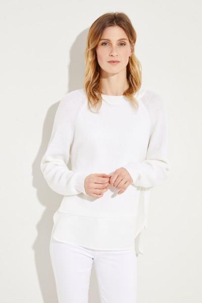 Zweilagiger Woll-Pullover mit Binde-Detail Crème