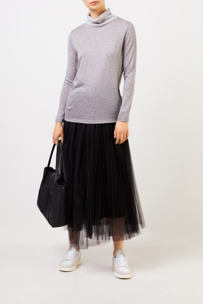 Wool pullover with lamé threads Silver/Grey