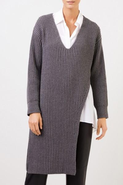 Stella McCartney Long Rib Knit Cashmere Sweater Grey Melange
