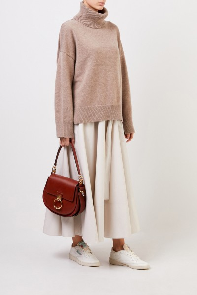 Wool cashmere pullover with turtleneck Taupe