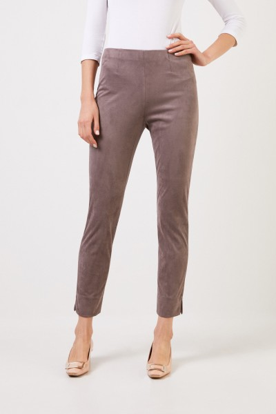 Seductive Imitation leather trousers 'Sabrina' in suede taupe look