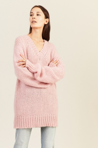 Mohair-Woll-Pullover mit V-Neck Rosé