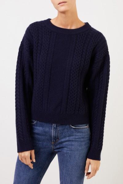 Uzwei Cashmere-Pullover mit Zopfmuster Marineblau