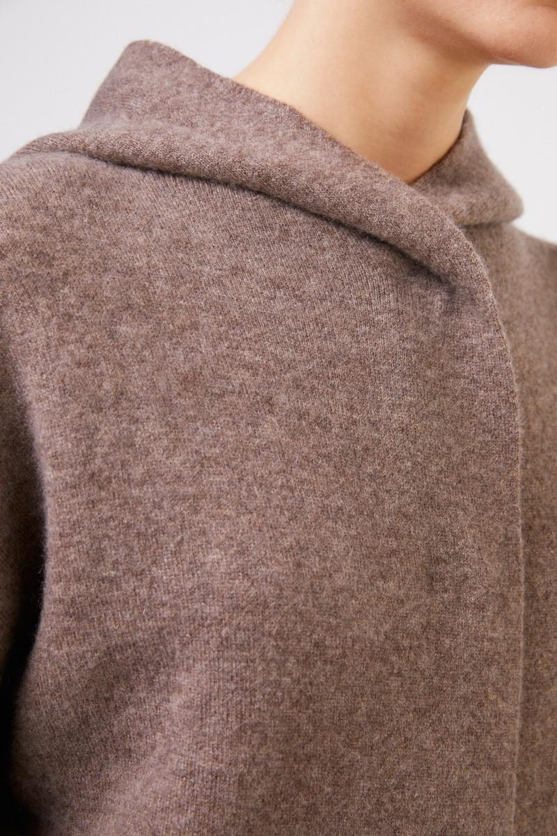 Doubleface Cashmere-Seiden-Jacke 'Palmina' mit Kapuze Taupe/Ecru