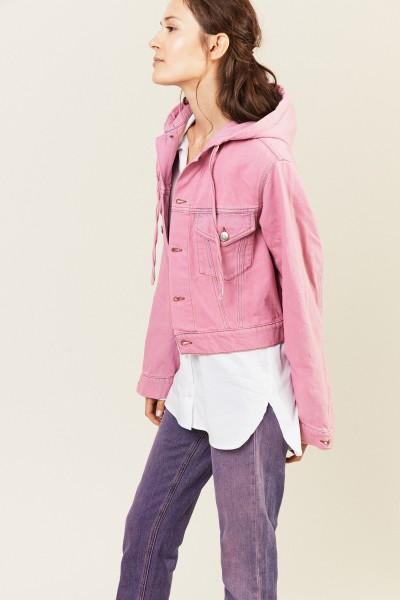 Jeansjacke mit Kapuze Pink