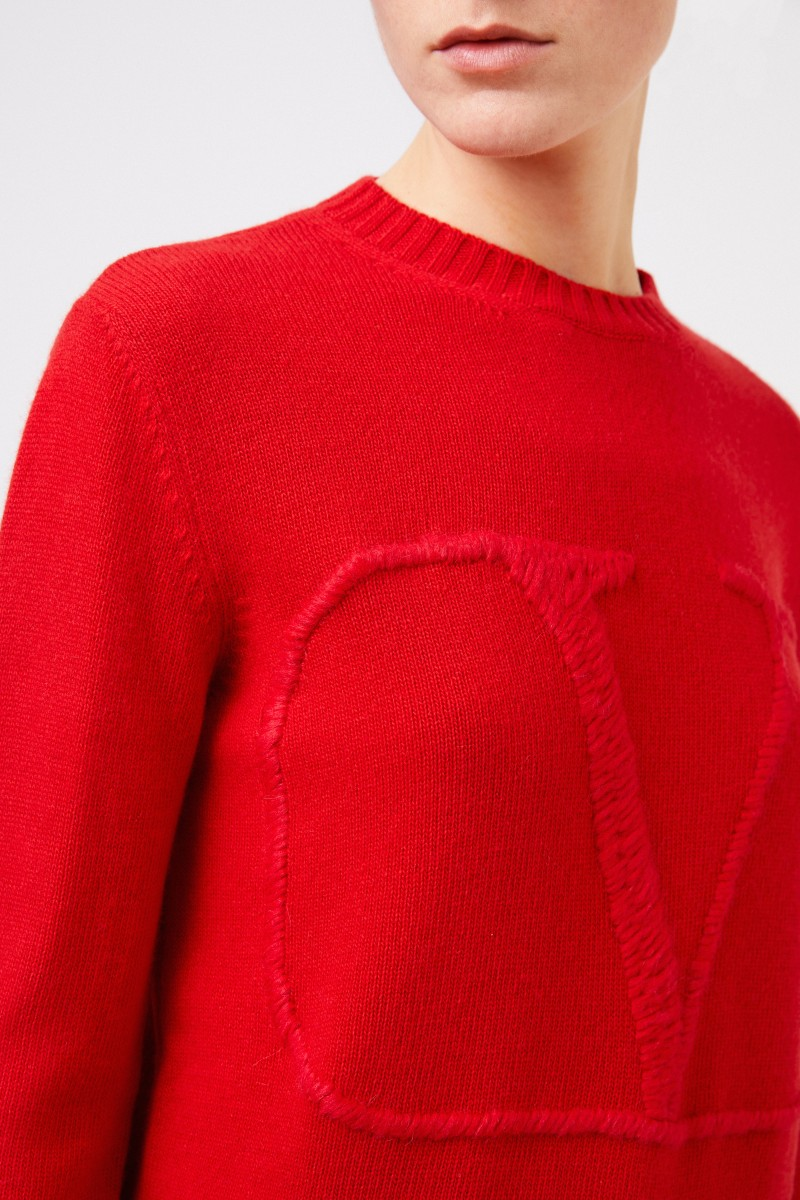 Valentino Woll-Cashmere-Pullover 'V' Rot