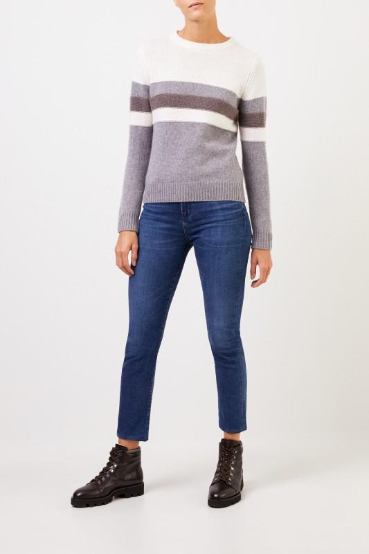 Uzwei Cashmere-Pullover in Colorblock Multi/Taupe