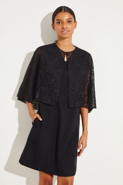 Lace cotton cape Black