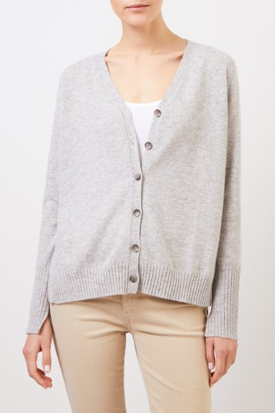 Allude Cashmere cardigan with slit Light Grey