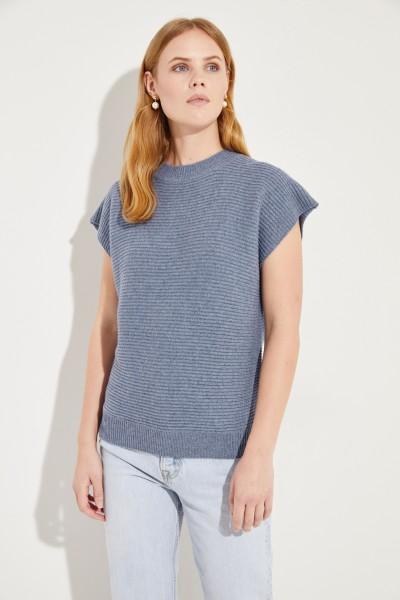 Kurzarm Woll-Cashmere-Pullover Blau