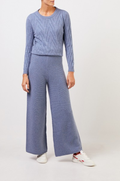 Uzwei Cashmere trousers with wide leg Blue