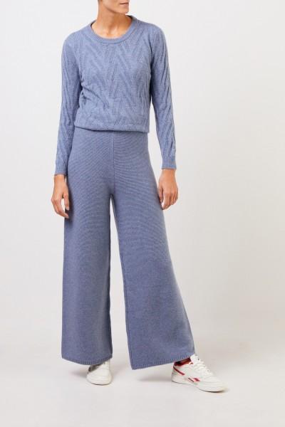 UZWEI Cashmere-Hose mit weitem Bein Blau