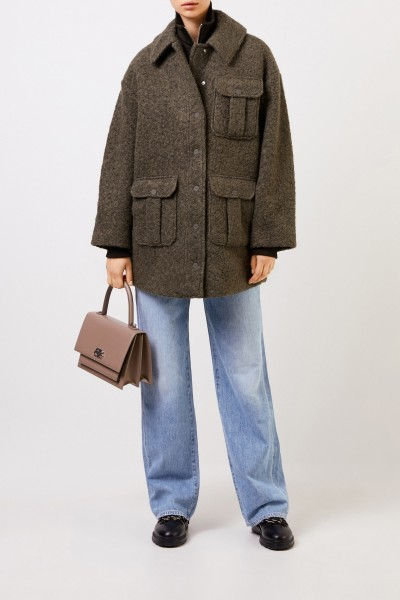 Ganni Woll-Mantel aus texturierter Bouclé-Wolle Khaki