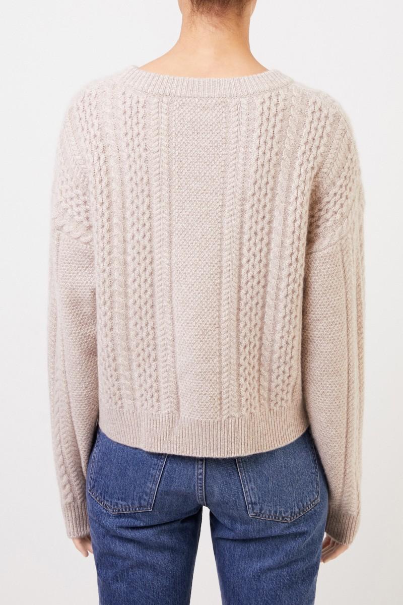 Uzwei Cashmere-Pullover mit Zopfmuster Beige