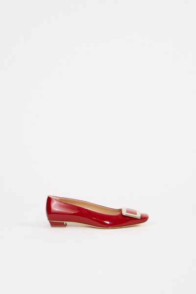 Patent Leather Flat 'Belle Vivier' with Buckle Red