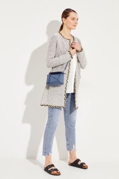 Tweed-Mantel mit Lurexdetails Crème/Oliv