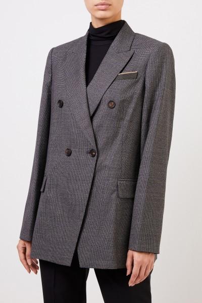 Brunello Cucinelli Checked wool blazer with pearl decoration black/grey