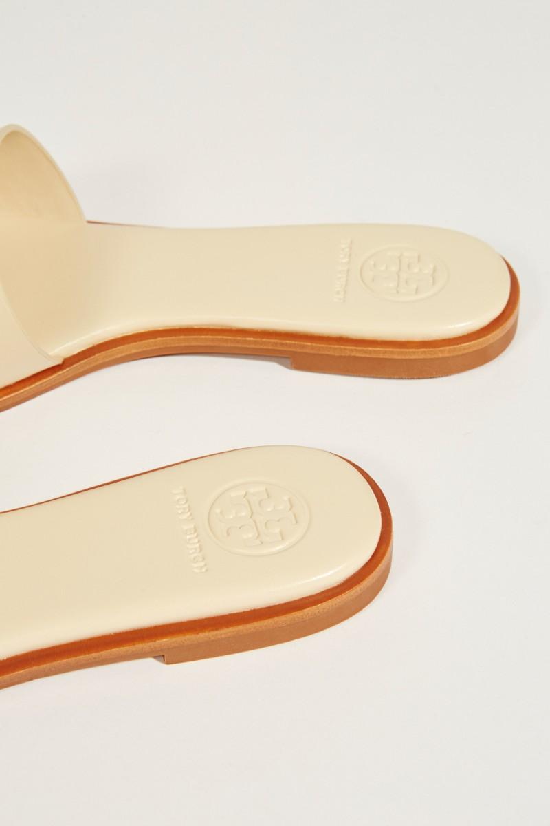 Leder-Sandale 'Ines' mit Logo Crème
