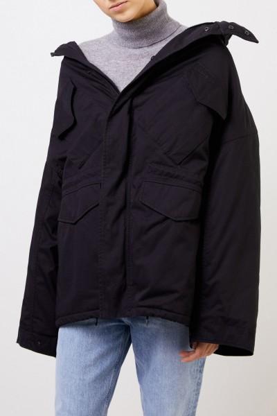 Balenciaga Swing-Jacke aus Baumwolltwill Schwarz