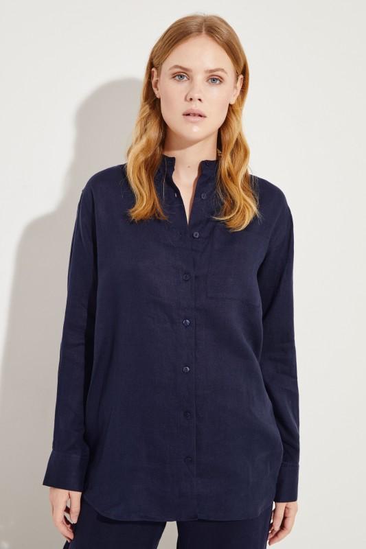 Oversize Leinen-Bluse Marineblau