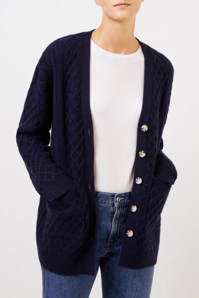 Uzwei Cashmere cardigan with cable stitch Navy