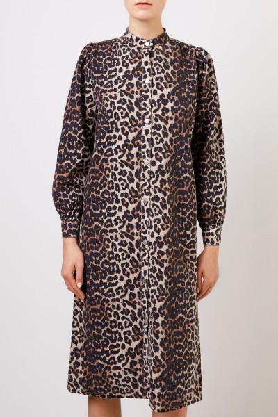 Ganni Kleid mit Leo-Print Multi