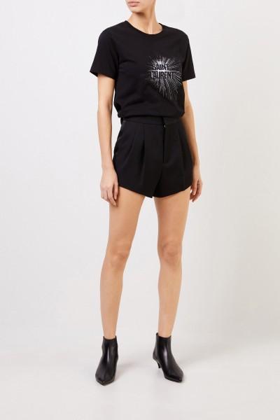 Wool pleated shorts Black
