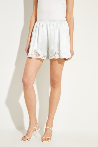 Silk shorts with lace details Mint