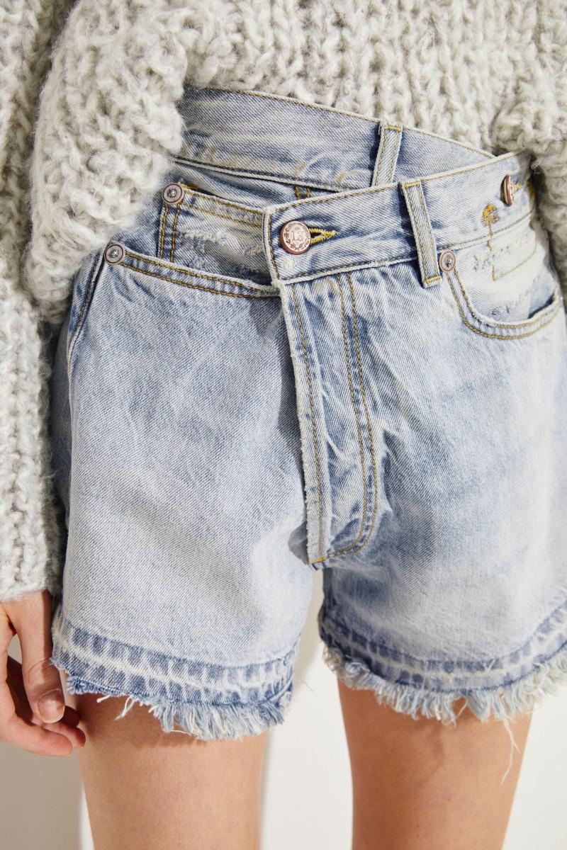 Jeans-Shorts mit Used-Look Blau