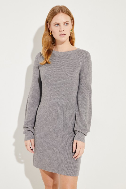 Seiden-Cashmere-Kleid Grau