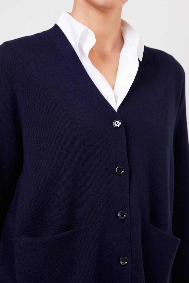 Ausgestellter Woll-Cardigan Marineblau