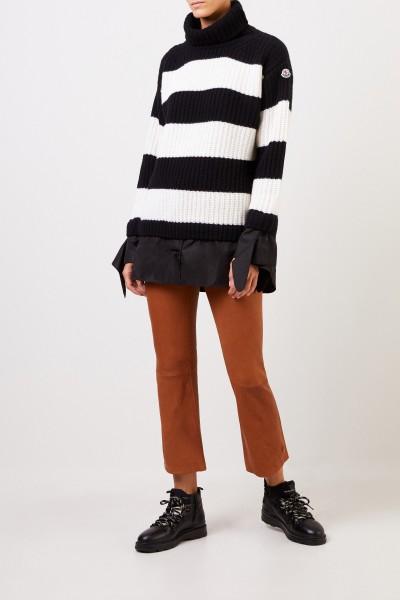 Moncler Woll-Rollkragenpullover mit Streifen Schwarz/Weiß