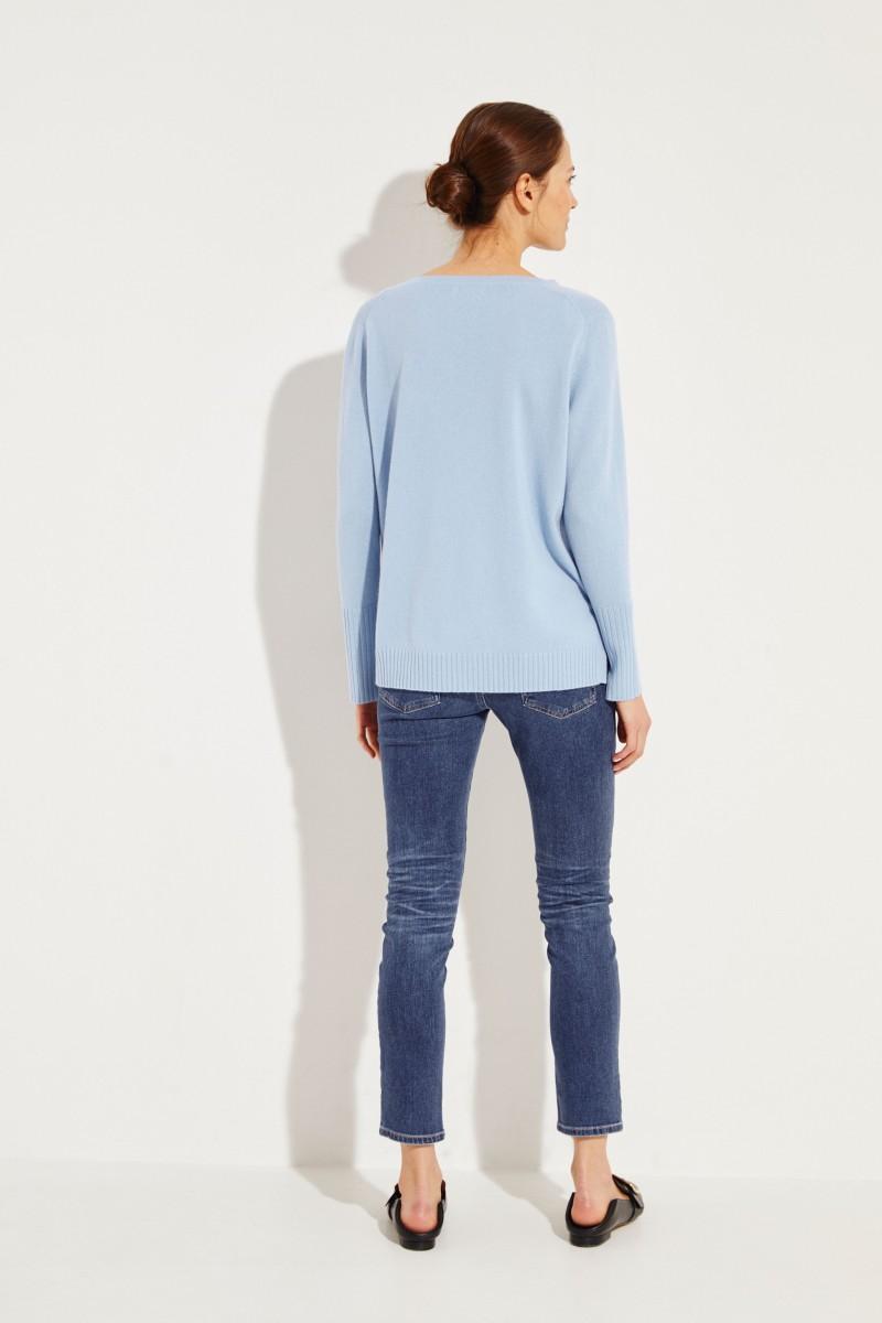 Cashmere-Pullover mit V-Neck Blau