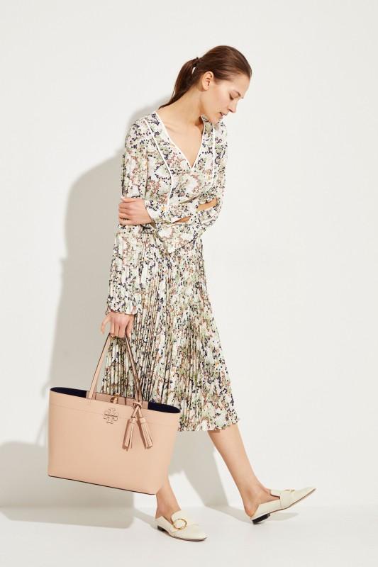 Plissee-Kleid mit Print Multi