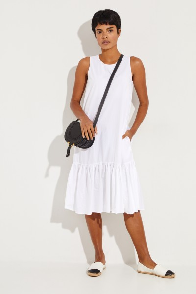 Cotton dress 'Karen' with flounce White