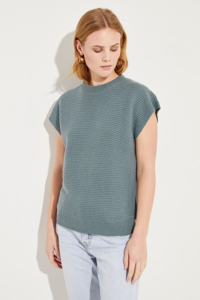 Kurzarm Woll-Cashmere-Pullover Salbei