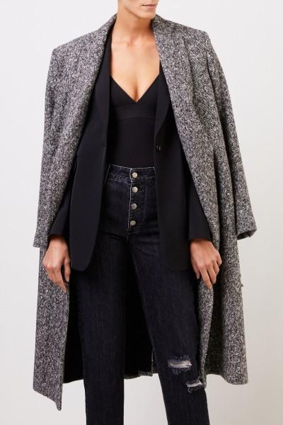 Stella McCartney Long wool coat with belt Black/Grey