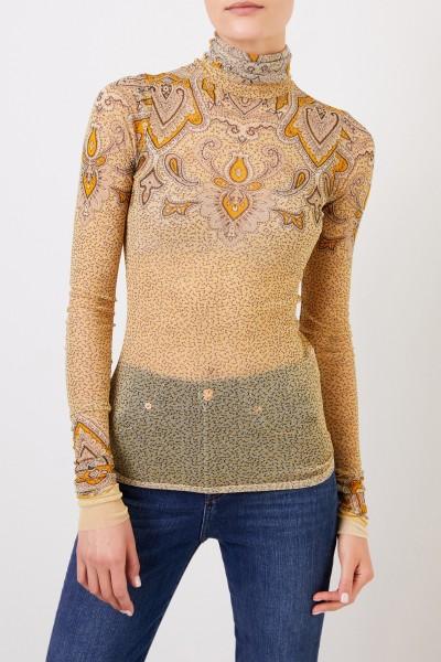 Etro Turtleneck sweater with print Yellow/Multi